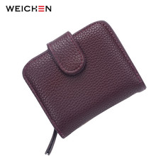 Buy Fashion Women Purple Leather Wallet Coin Purse Money Bag Small Wallet Purse Mini Zipper Hasp Short Lady Purse Card Holder for $4.93 in AliExpress store