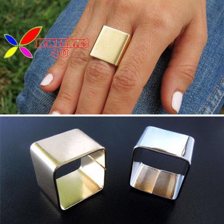 2014 hot fashion brand Designer gold silver polish metal square geo finger rings for women ensemble wholesale(China (Mainland))