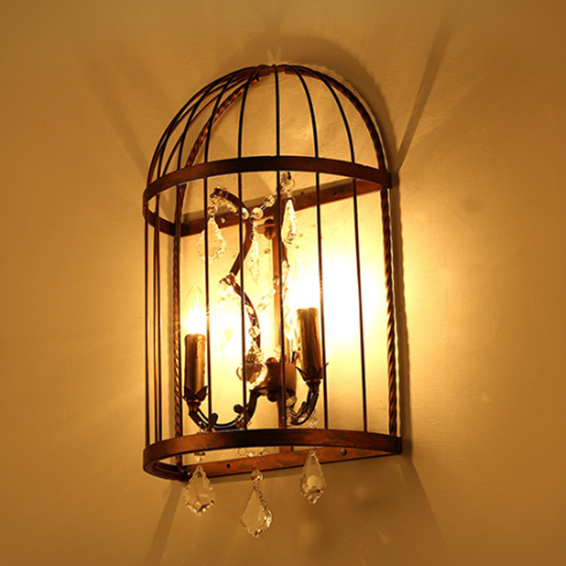 American Country Pastoral Style Bedroom Bedside Aisle Creative Personality Wrought Iron Bird Cage Crystal LED Wall Lamp AC220V(China (Mainland))