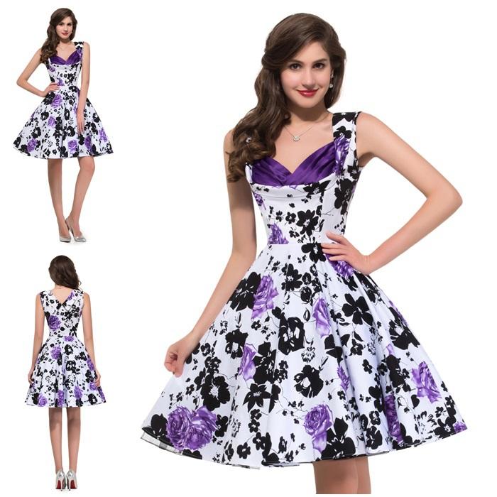Retro Purple Dress Retro Sleeveless Purple