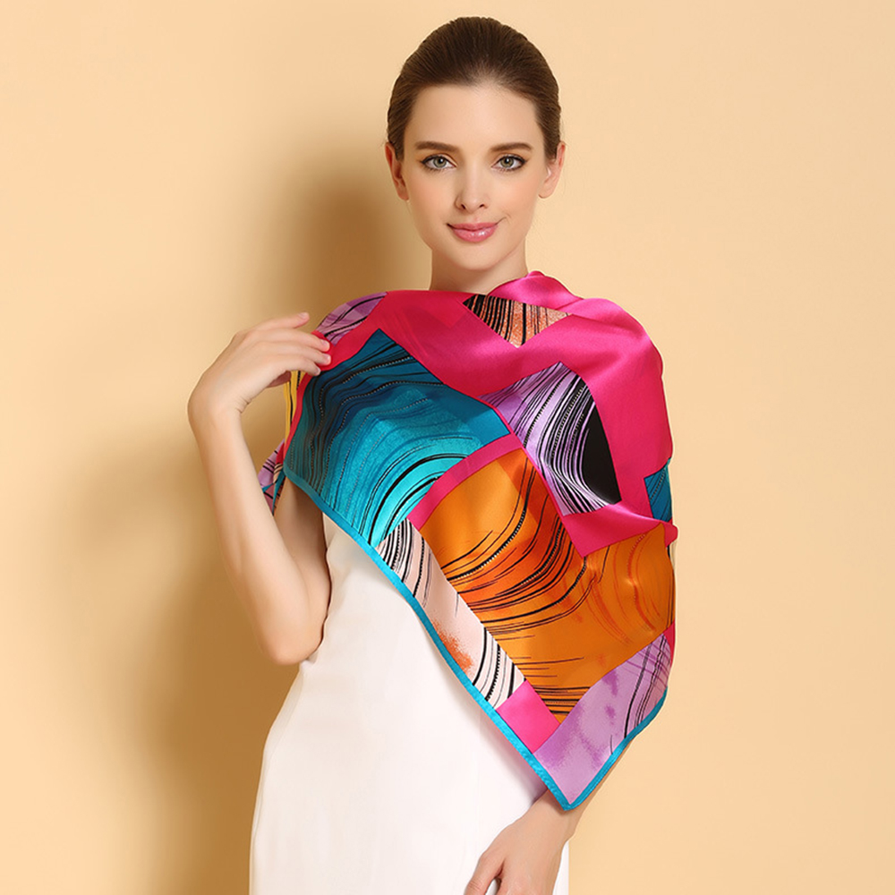 100% Natural Silk Square Scarves Fashion Printed Pure Silk Scarf Shawl Top Grade Sunscreen Shawls Large Size 110cm x 110cm F518(China (Mainland))
