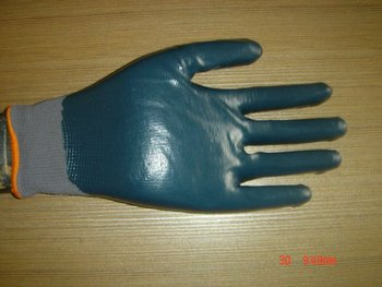 Free Shipping  newest blue nitrile coated grey nylon working glove/waterproof and oilproof/CE3142