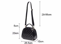 Classy Round Quilted Bag Women Box-type Stylish Shoulder Bag Classic Diamond Lattice Small Crossbody Bag Lady Black PU Hand Bag