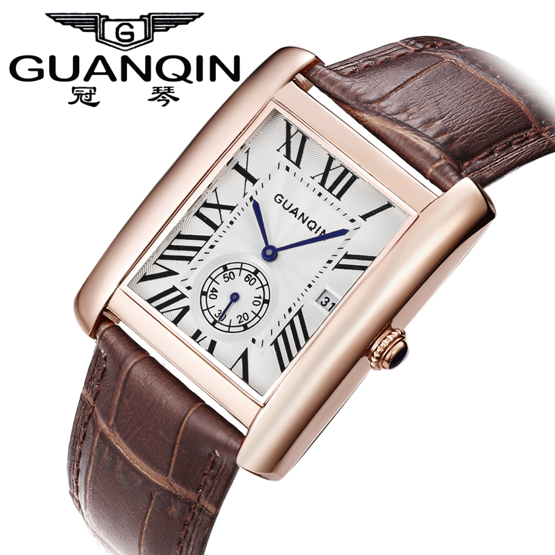 Top fashion men square watches waterproof ultra-thin man casual Genuine leather strap wristwatches business quartz watches men<br><br>Aliexpress