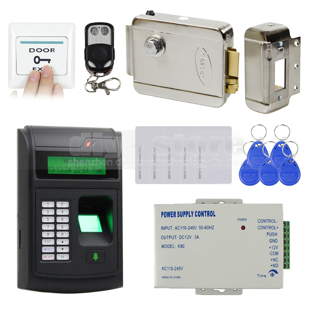 DIY 125KHz RFID LCD Fingerprint Keypad ID Card Reader Access Control System Kit + Electric Lock + Remote Control 208I-S(China (Mainland))