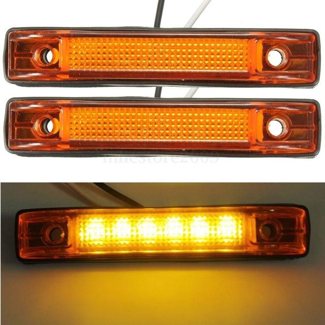2x 6 led clearance side marker light indicator lamp truck. Black Bedroom Furniture Sets. Home Design Ideas
