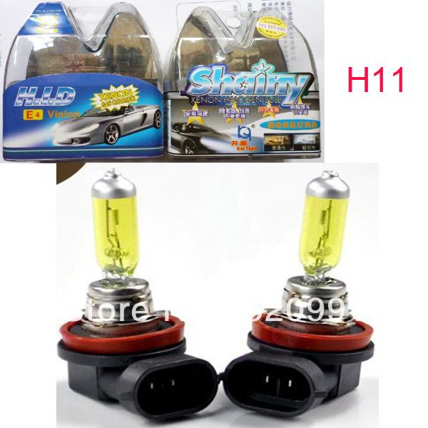 2 X H11 12V 100W Amber/Yellow HID Xenon Halogen Car Headlight Light Bulb Lamp 3000~3500K Free Shipping(China (Mainland))