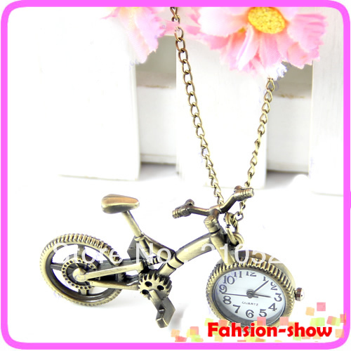 "Y92"" Retro Mini Bronze Bike Bicycle Design Quartz Pocket Watch Pendant Necklace Chain Free Shiping(China (Mainland))"