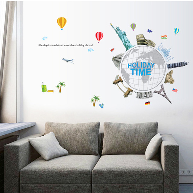 Latest World Famous Building Holiday Time Diy Wall Sticker Home Decor For Children Room Tv