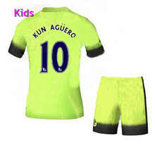 Youth Stand 2015/16 KIDS was dark navy blue jersey football shirts kids kit De Bruyne David Silva Sterling Kun Aguero FOOTBALL(China (Mainland))