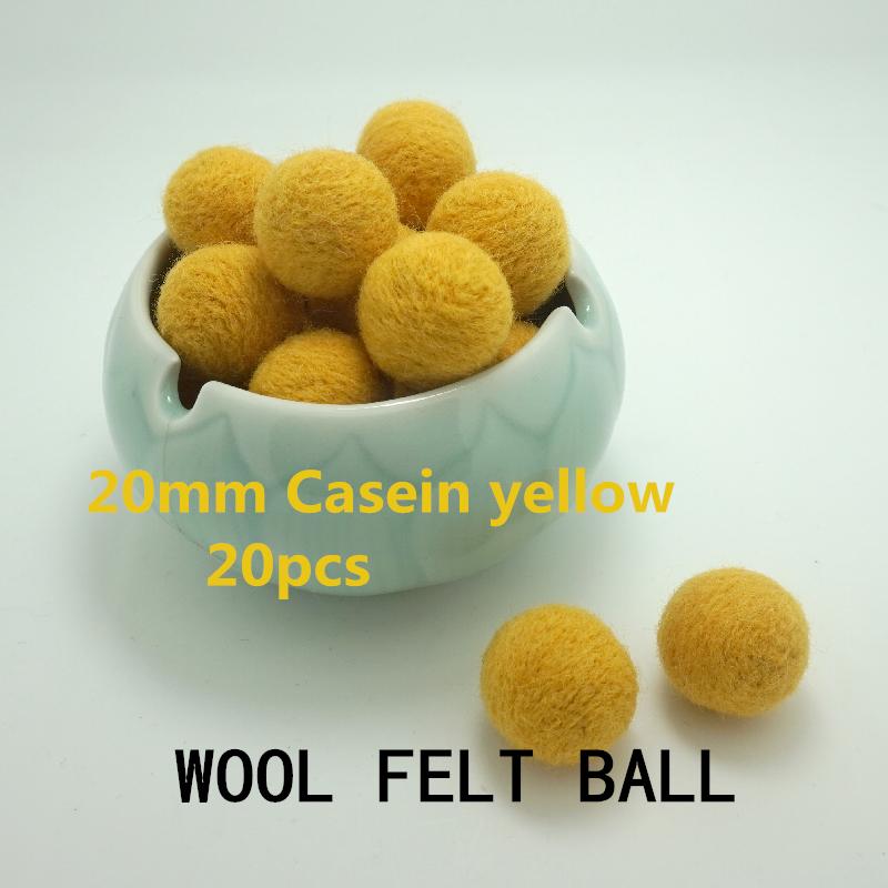 Christmas Garland 2handmade needle felt 100% Wool Felt Balls 20mm Color Casein yellow - YASU store