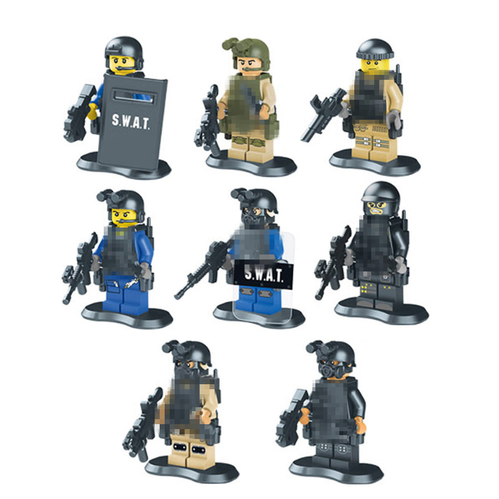 8pcs/lot Guard against terrorism SWAT Kid Baby Toy Mini Figure Building Blocks Sets Model Toys Minifigures Brick(China (Mainland))