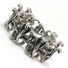 Mens boys Silver Cool 316L Stainless Steel Cool Cobra Link Punk Gothic Style