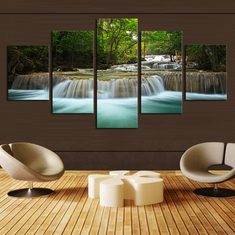 No Frame5 Pcs Waterfall Painting Canvas Wall Art Picture Home