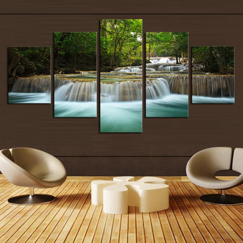 Koop 5 panel waterval schilderdoek kunst aan de muur foto home decoratie - Decoratie woonkamer aan de muur ...