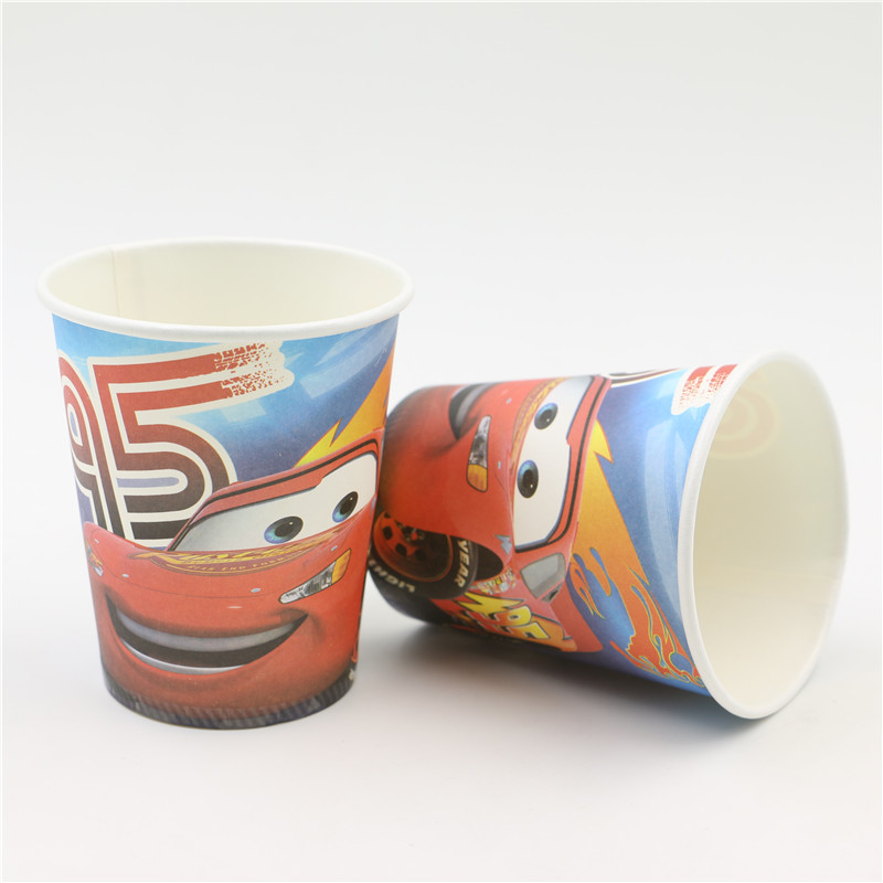 car toy cartoon theme boys happy birthday deoration event party supplies 60Pcs/lot kids favors paper drinking cups/glass(China (Mainland))