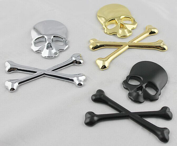 2016 new 3d 3m Vehicle Rear Alloy Black Metal Skull Bones Evil Skeleton Emblem Car Truck Tailgate Badge Sticker 3D for Hyundai(China (Mainland))