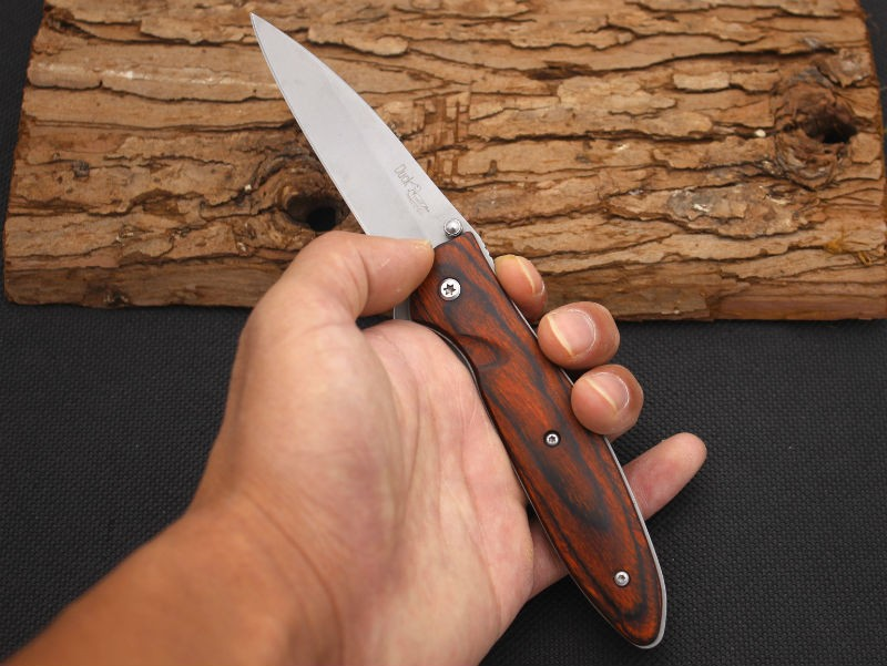 Buy Hot Folding Knife DUCK 420 Steel Blade Wood Handle Survival Knifes Pocket Hunting Tactical Knives Camping Outdoor EDC Tools X8 cheap