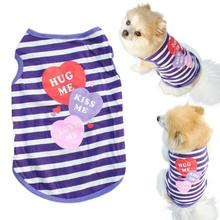 2016 Pet Dog Clothes Cute Small Dog T-Shirt Unisex Stripe Cotton Vests Puppy Summer Shirt Pets Clothing Products For Dogs
