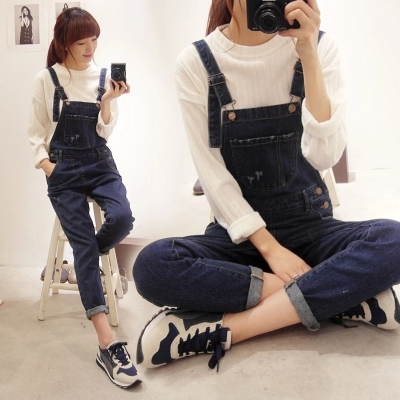 2016 New Womens Jeans Bib Jumpsuit Romper Denim White Long Overalls Casual Girls Pants Jeans Free Shipping(China (Mainland))