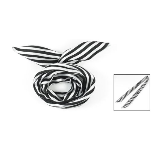 GTFS White/Black Women Striped Print Fabric Coated Wire Hair Wrap Scarf HeadBand(China (Mainland))