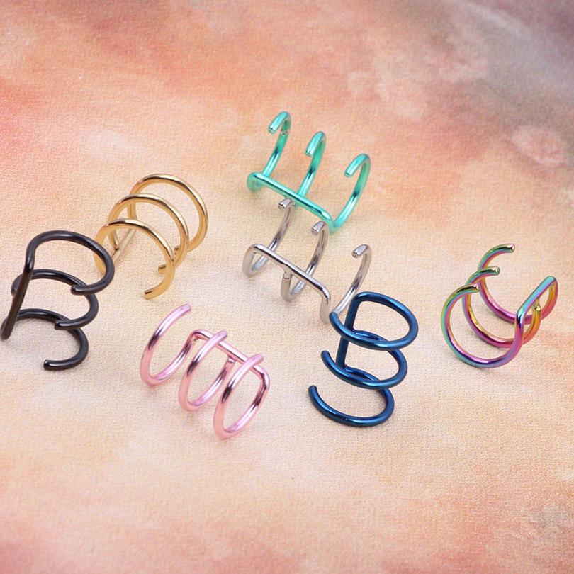 ZLDYOU Fashion Colorful Stainless Steel Ear Cuff Piercing Stud Body Jewelry Women Men Clip Earrings