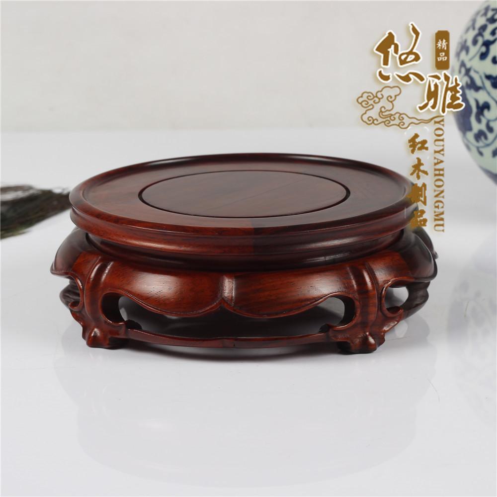 Mahogany rosewood wood carving teapot vase display stand bonsai buddha jade decoration circle base wood stand(China (Mainland))