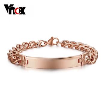 Унисекс розовое золото браслет браслет нержавеющая сталь ID пара ювелирные изделия ...