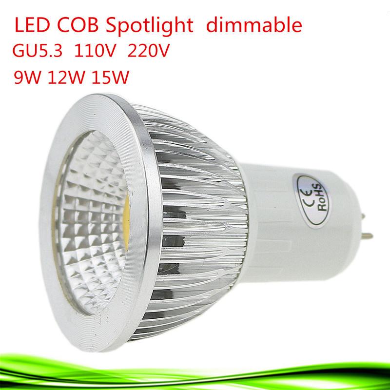 1pcs Super Bright 9W 12W 15W GU5.3 LED Bulb 110V 220V Dimmable Led COB Spotlights Warm/Natural/Cool White GU5.3 LED lamp(China (Mainland))