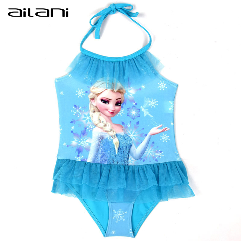 Princess Lace Swimsuit For Girls 2016 Summer Fashion Suspenders Elsa One Piece Children Kids Bathing Suits