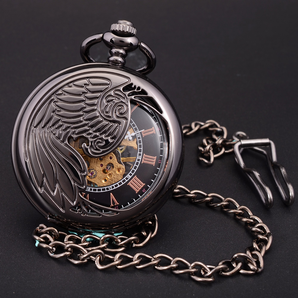 Antique Black Skeleton Phoenix Wings Carving Case Men Hand Wind Necklace Chain Fob Clock Fashion Hollow Mechanical Pocket Watch(China (Mainland))