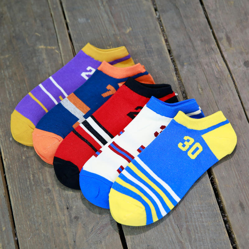 5pairs/lot mens sports basketball socks slipper cp3 curry kb james jordan Anthony socks summer casual short socks 23 sports sock(China (Mainland))