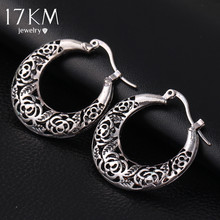 17KM Vintage Jewelry Hollow out Flower Earring for Women Tibetan Antique Silver Color Bohemian Charm Dangle Long Accessories(China (Mainland))