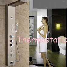 Thermostatic Shower Panel Brushed Nickel Shower Column Tub Jets Hand Shower Tap(China (Mainland))