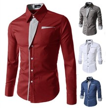 new 2015 style cotton mens causual shirts long slevee patchwork striped shirt men 7 colors camisa masculina  M-3XL
