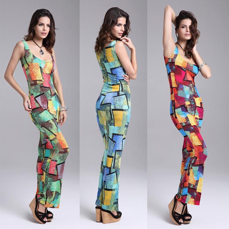 New 2015 Summer Fashion Ice Silk Slim Bodycon Sexy Tank Beach Dress Long Printed Elegant Maxi Sundress Tunique Femme Plus Size(China (Mainland))