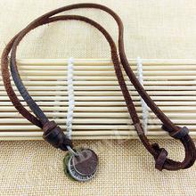 Fashion Men Women Vintage Retro Jewelry Long Leather Pendant Necklace Ethnic Necklaces Coin Charm Pendants Bijuterias