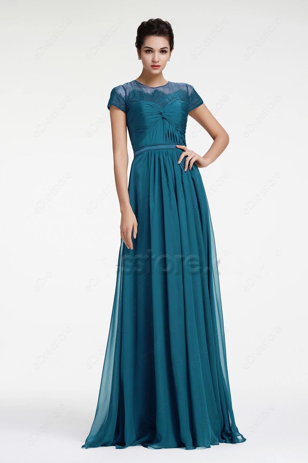 Compare prices on teal cap sleeve bridesmaid dress online new 2017 teal ruched chiffon modest bridesmaid dresses cap sleeves a line long maids of ombrellifo Images
