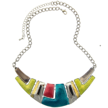 Fashion Jewelry 2015 Women Channel Necklace Ethnic Silver Plated Colorful Enamel Chunky Statement Choker Necklace(China (Mainland))