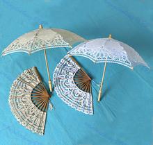 M89 livraison gratuite petite taille 2 couleurs dentelle Parasol Fan main pour nuptiale décoration de mariage(China (Mainland))