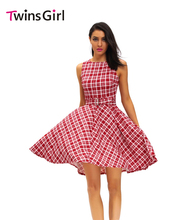Buy Stylish 2016 Summer Party Vintage Check Print Swing Dress Red LC61166 Ladies Plaid Print Sexy Roupas Femininas swing dress for $20.89 in AliExpress store