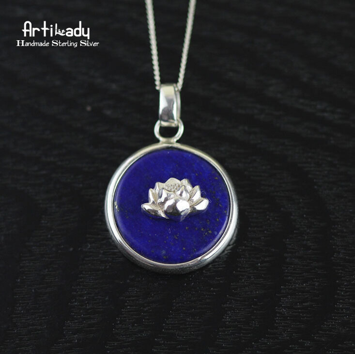 Artilady 925 sterling silver pendant lapis lazuli with lotus for women jewelry handmade 925 silver pendant<br><br>Aliexpress