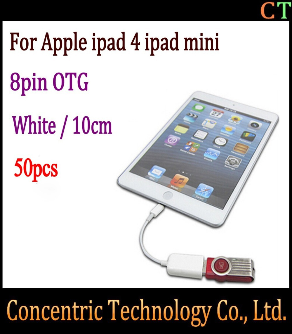 50pcs Adapter Cable new hot selling Camera Connection Kit Dock Connector to USB OTG for iPad Mini for ipad 4 OTG