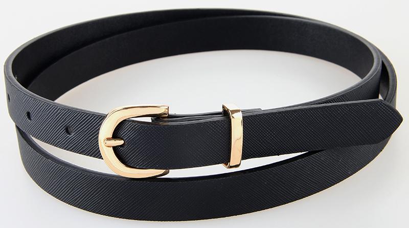 Unique PU Leather Waist Belt Straps High Fashion Female Thin Belts PU Alloy Pin Buckles Black Skinny Belt(China (Mainland))