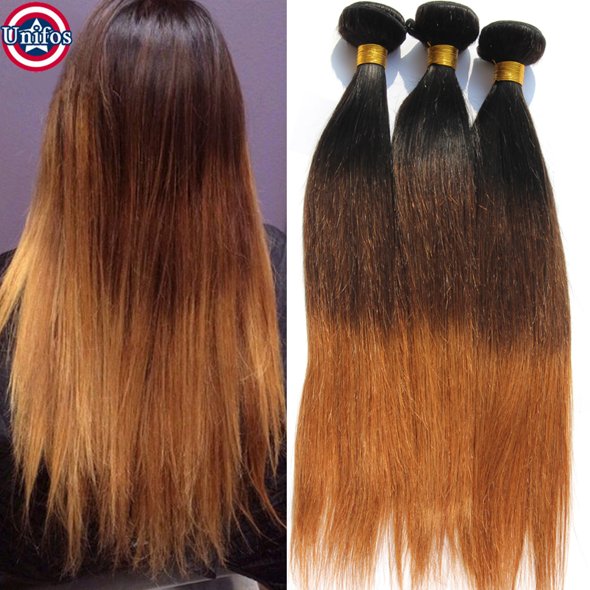 Ombre Brazilian Hair Weave Ombre Three Tone Hair Weave 1B/4/30 Ombre Human Hair Extensions Brazilian 3 Tone Ombre Hair Straight