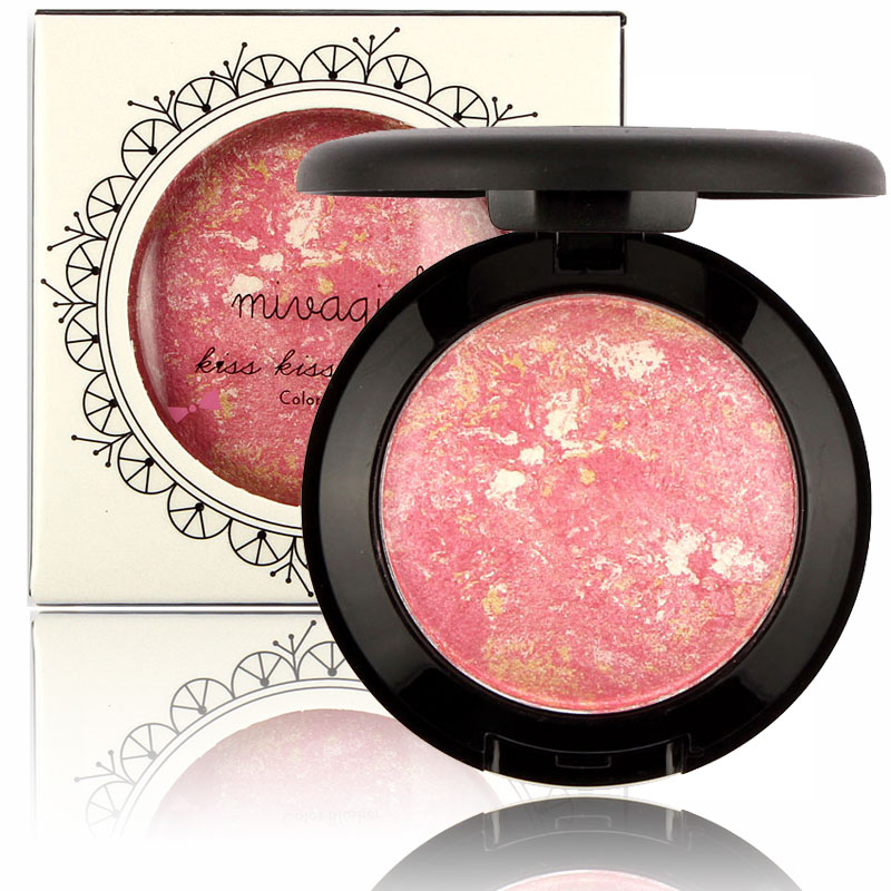 1Pcs New Makeup Stereoscopic Baked Blush Palette Baked Cheek Color Blusher Blush(China (Mainland))