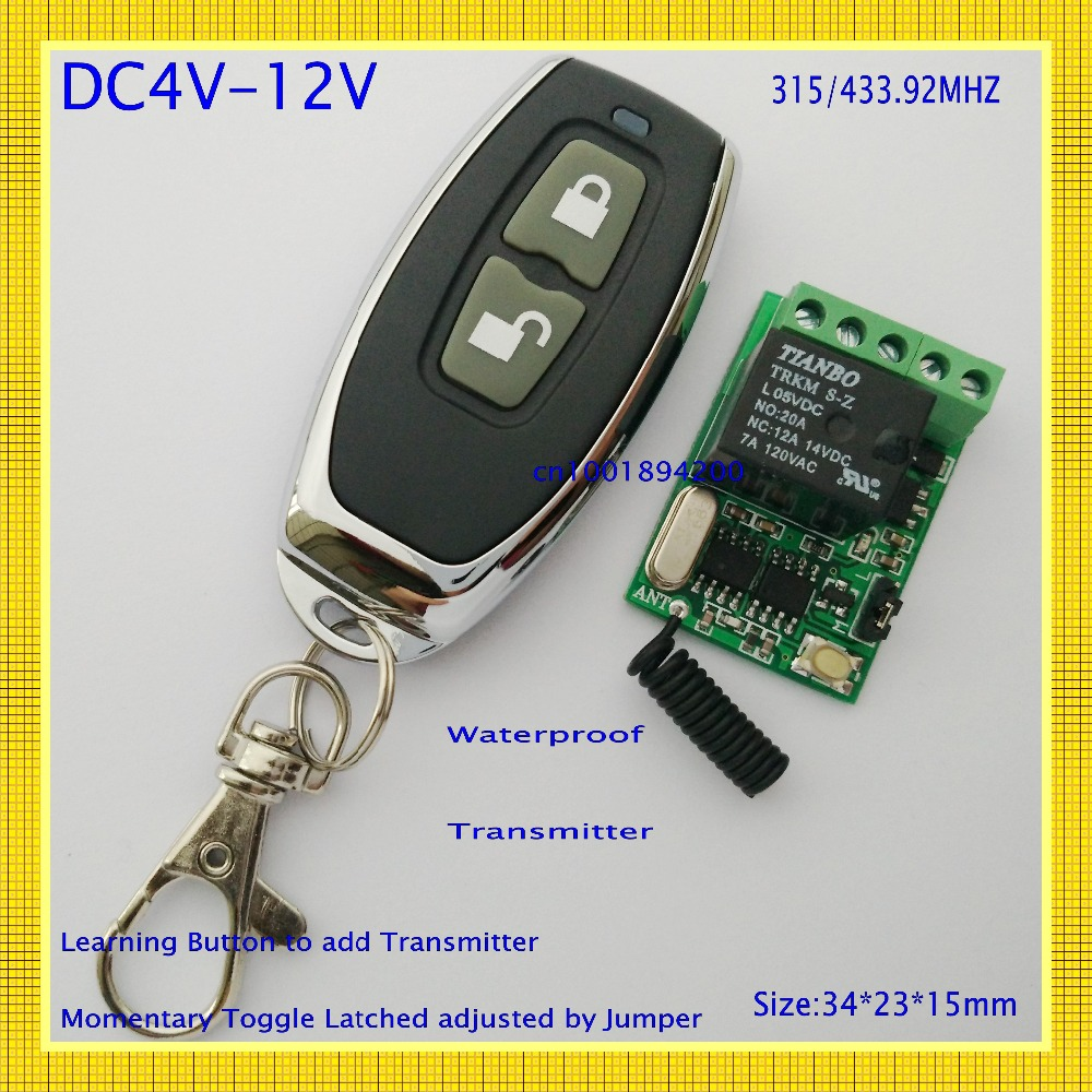 wireless remote control switch 4V 4.5V 5V 6V 7.4V 8V 9V 12V Micro Relay Remote Switch Small Receiver Transmiter Learning Smart<br><br>Aliexpress