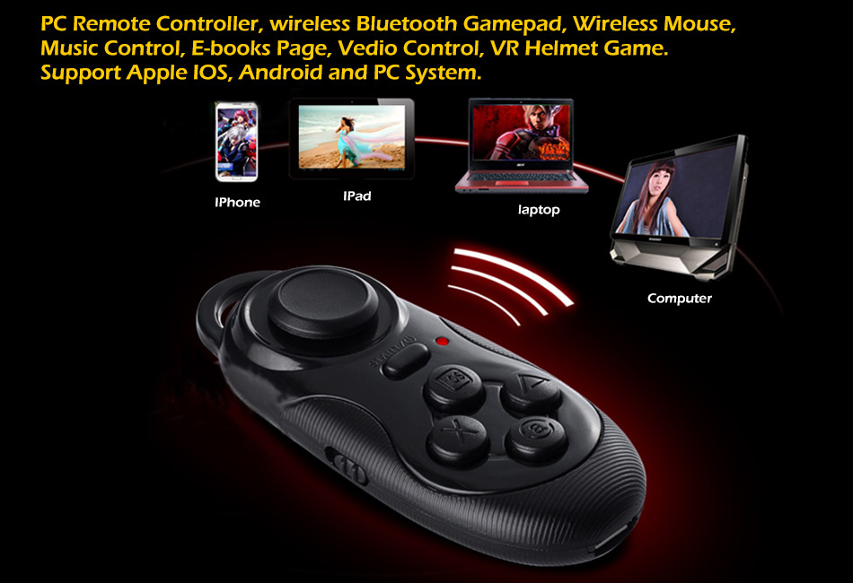 3in1 Bluetooth android Gamepad Controller for pc / Selfie Remote Shutter / Wireless mouse for Iphone IOS SAMSUNG laptop TV Box(China (Mainland))
