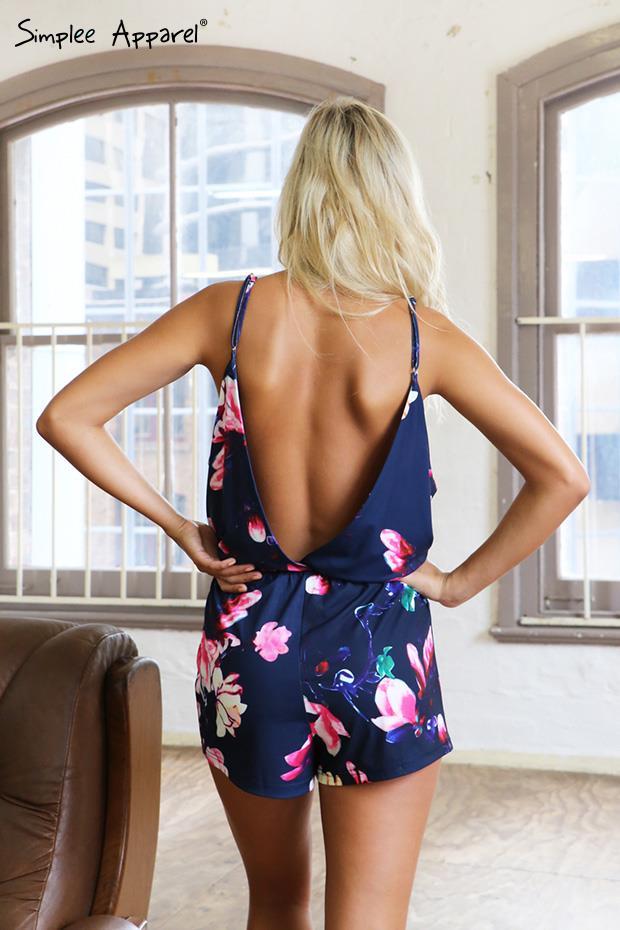 Simplee одежда 2015 новое лето женщины цветочные печатные глубокий v шеи широкий сексуальные мини комбинезон ремень спинки замочная скважина комбинезоны