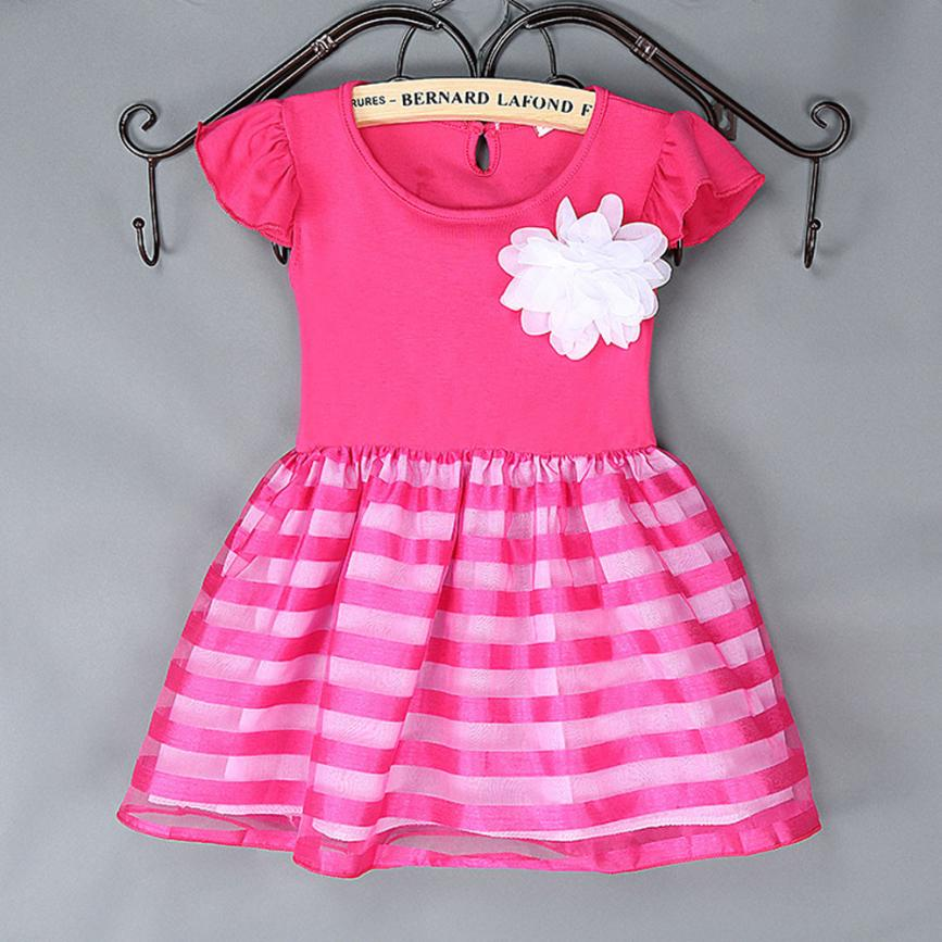 Kids Clothes Girls Striped Flower Ball Gown Tutu Dress Girls Clothing Robe Enfant Fille Mariage #2415(China (Mainland))